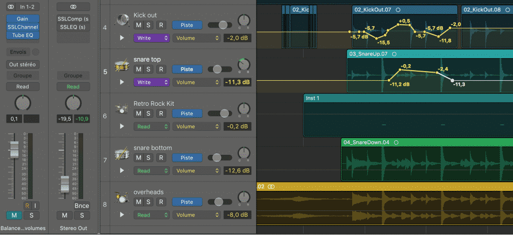 "Automation en mode ""Write"" sous Logic Pro X"