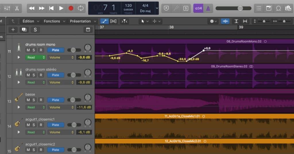 Automation en mixage audio dans logic pro x