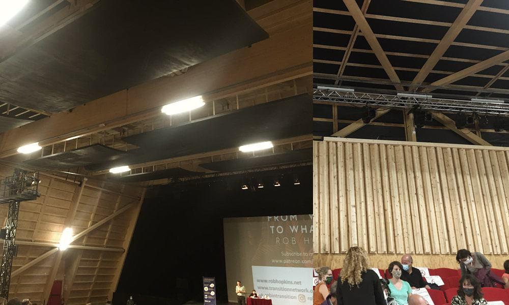 Comment enlever l'écho d'une pièce ; opéra confluence à Avignon avec ses diffuseurs et ses panneaux absorbeurs