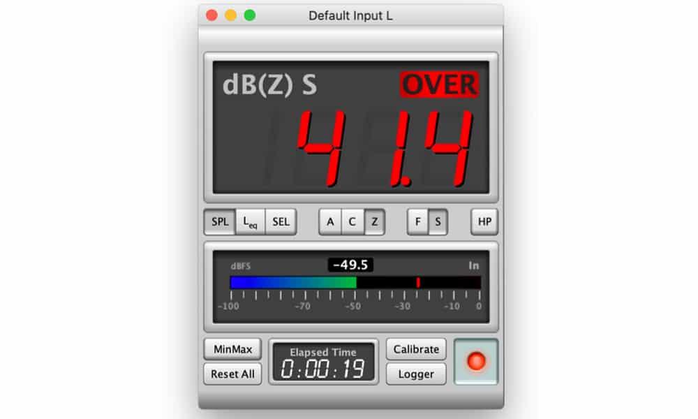 Le SPL meter du logiciel Room EQ WIZZARD