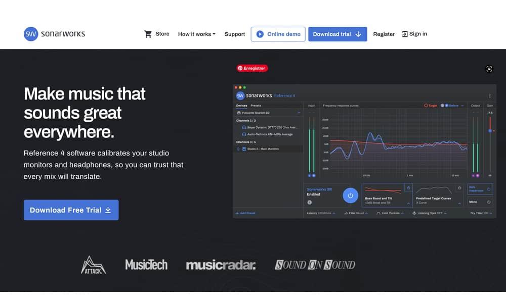 page d'accueil de sonarworks