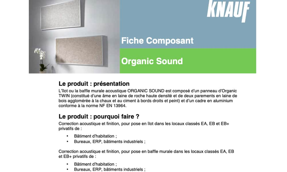 Exemple d'un produit acoustique en fibre de bois de la marque KNAUF