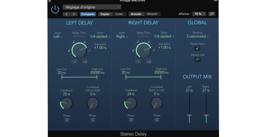 delay audio : le stereo delay de logic pro x